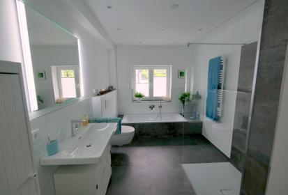 Blick Ins Badezimmer: Waschbecken, Toilette, Badewanne, Begehbare Dusche ...