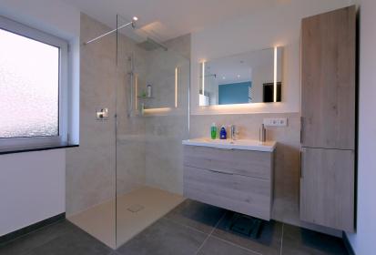 Kleines Bad, Begehbare Dusche, Regendusche, Waschbecken Und Badezimmermöbel  ...