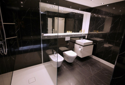 Gaste Wc Schwarze Fliesen Fliesen Trend Betonoptik Im Badezimmer